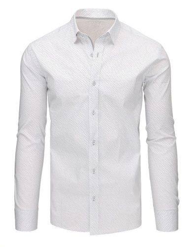 bílá Vzorovaná pánská košile s potiskem s dlouhým rukávem