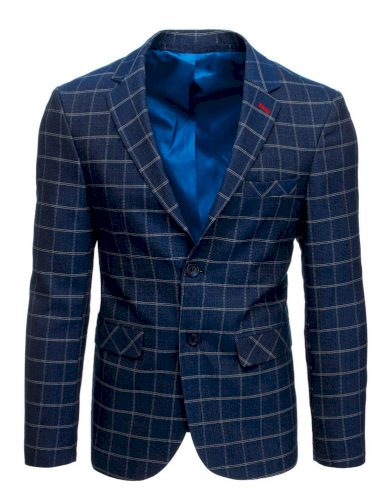 Modré kostkované sako elegantní sako s podšívkou a kapsami