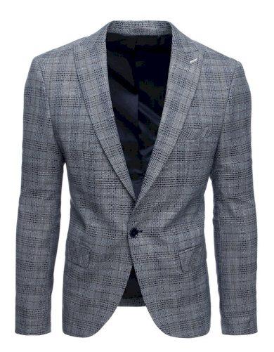 Modré kostkované sako na jeden knoflík panské sako s podšívkou