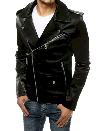 Černá pánská kožená bunda křivák na asymetrický zip