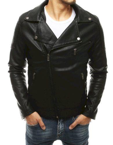 Pánská bunda z umělé kůže křivák se širokým klopovým límcem