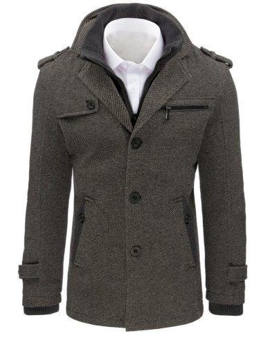 Pánský vzorovaný kabát rybí kost kabátek na knoflíky s podšívkou