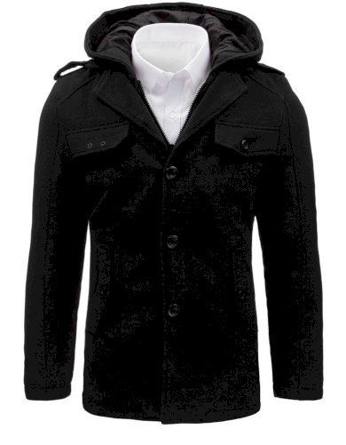 Jednořadý pánský kabát černý s odnímatelnou kapucí a kapsami