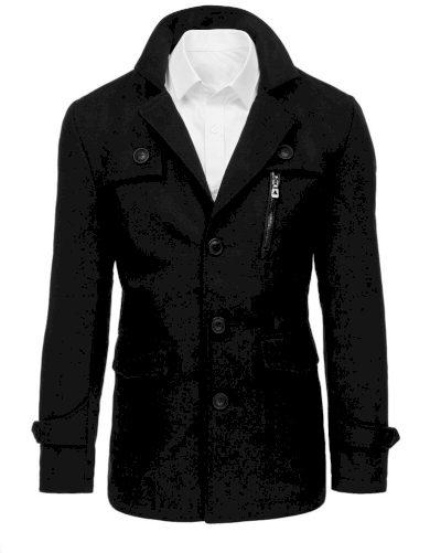 Pánský černý kabát s kapsami a kožešinovou podšívkou