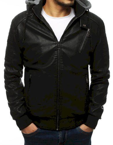 Pánská kožená bunda s odepínací teplákovou kapucí