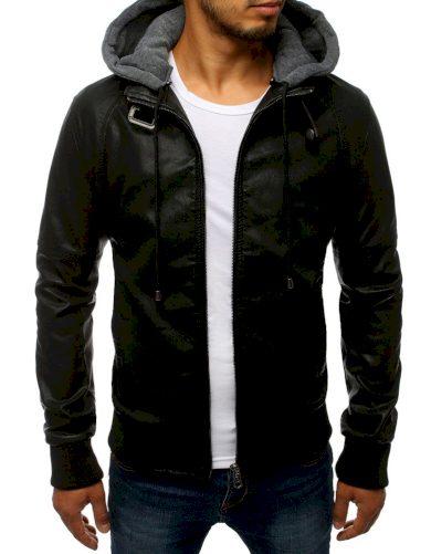 Pánská kožená bunda s kapucí a límcem na opasek
