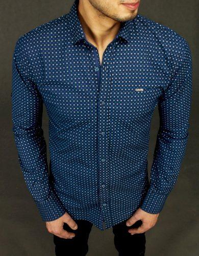 Pánská elegantní košile tmavě modrá vzorovaná s potiskem Dstreet