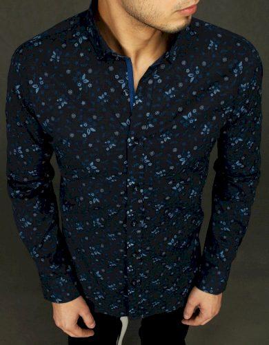 Pánská vzorovaná košile s listy a dlouhým rukávem