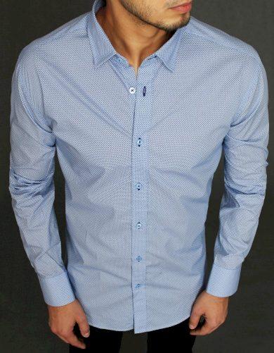 Světle modrá Vzorovaná pánská košile s potiskem
