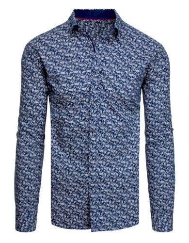 tmavě modrá Vzorovaná pánská košile s potiskem