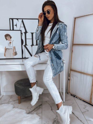 Pohodlná džínová bunda riflová s delším střihem