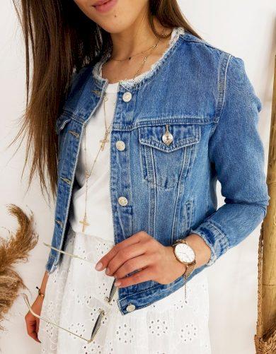 Krátká riflová bunda bomber džínová bunda s kulatým výstřihem