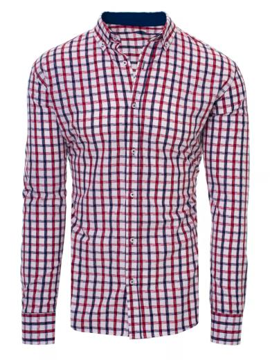 Pánská bílá košile s červeným a modrým kostkovaným vzorem