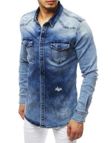 Pánská riflová košile džínová modrá