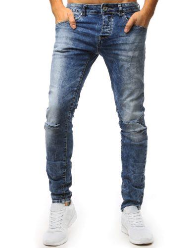 Modré pánské džíny s děravými koleny