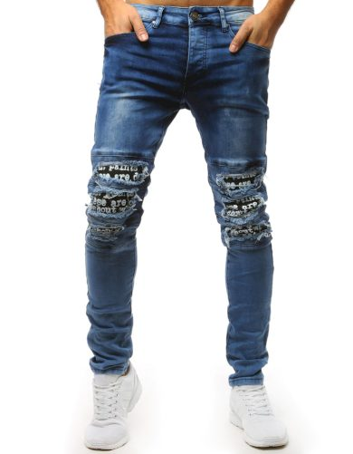Modré džíny s roztrhanými koleny a potiskem