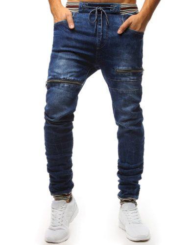 Spodnie jogger běžecké jeansowe męskie modré