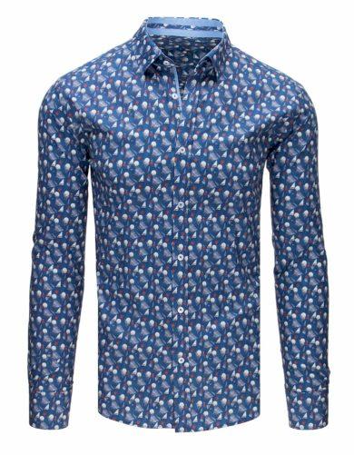 Pánská elegantní košile vzorovaná s potiskem džínový model