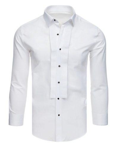 Smokingová košile s plisováním bílá