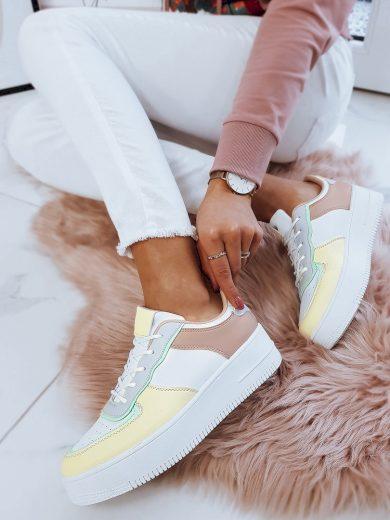 Dámské boty barevné tenisky MILEY - žluto-růžové ZY0010