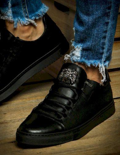 Elegantní tenisky pánské boty černé ZX0127