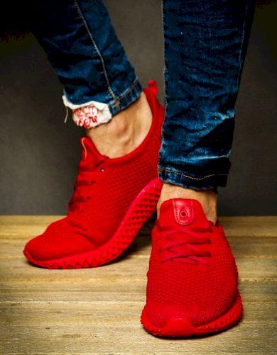 Sneakersy pánské sportovní tenisky černo-červené ZX0131