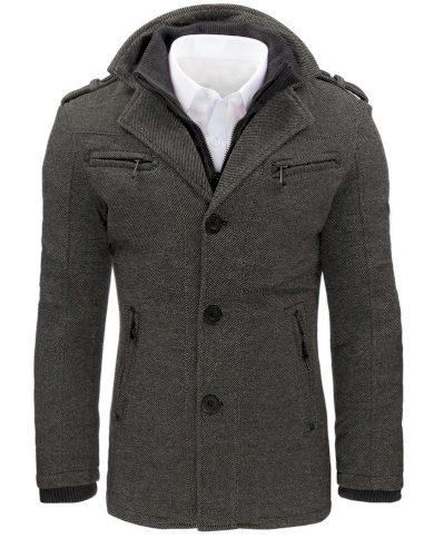 Pánský kabát na knoflíky kabátek se stojatým límcem a kapsami