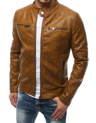 Pánská přechodná kožená bunda s náprsními kapsami