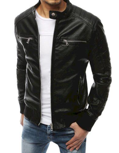 Pánská kožená prošívaná bunda na zip s límcem na druk