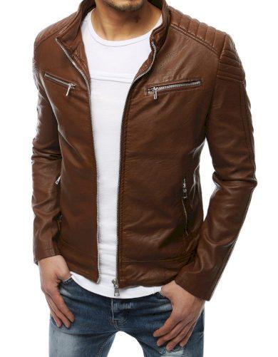 Kožená přechodová bunda s prošíváním a zapínáním na zip