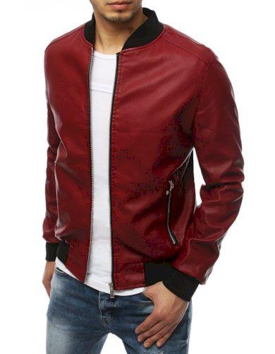Pánská kožená bomber bunda na zip se stojatým límcem