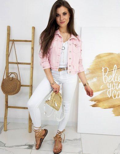 Dámská džínová bunda s oděrkami riflová bunda