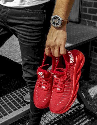 Červené pánské boty stylové tenisky s nápisy ZX0166