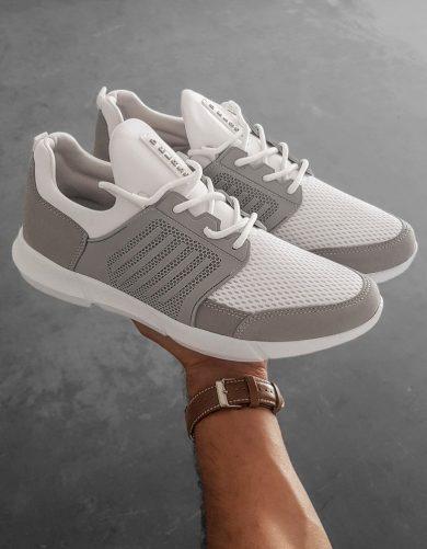 Sportovní pánské boty šněrovací tenisky bílé ZX0182