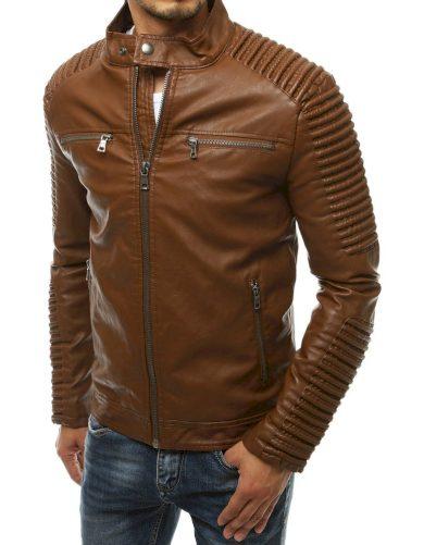 Žebrovaná pánská kožená bunda s límcem na druk
