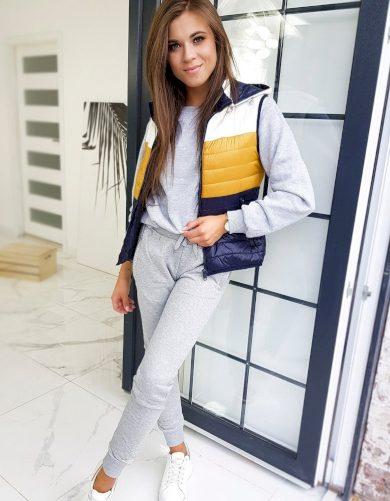 TRIO FULL tříbarevná prošívaná vesta s kapucí