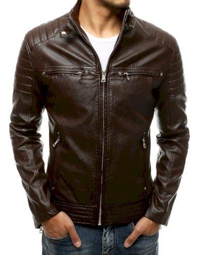 Pánská kožená bunda s prosíváním a stojatým límcem