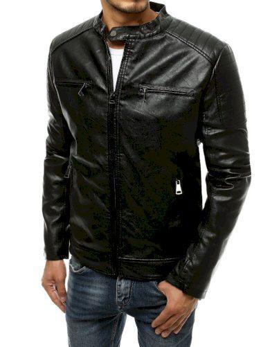 Černá pánská kožená bunda bez kapuce s límcem na druk