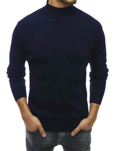 Pánský svetr s vysokým límcem tmavě modrý