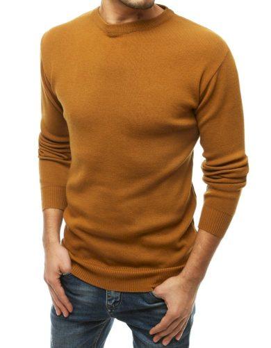 Pánský svetr oblékání přes hlavu v hnědé barvě
