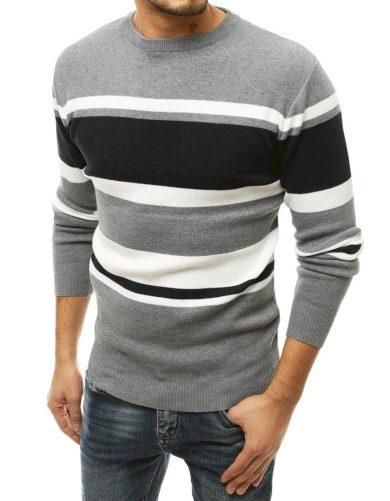 Pánský svetr s barevnými pruhy a kulatým výstřihem