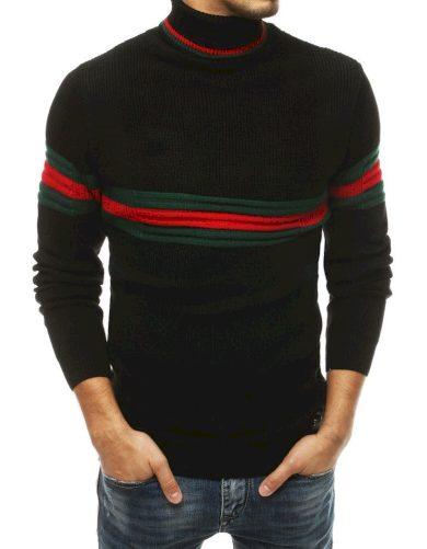 Kontrastní pánský svetr s rolákem a barevnými pruhy