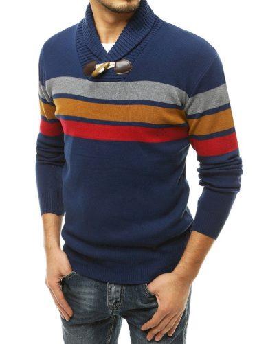 Pánský vlněný svetr se stojáčkem a kontrastními pruhy