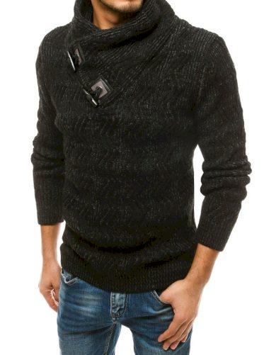 Teplý pánský svetr z vlny se stojatým límcem