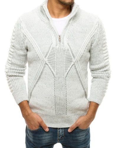Tlustý vlněný svetr pro muže se zipem a se stojáčkem