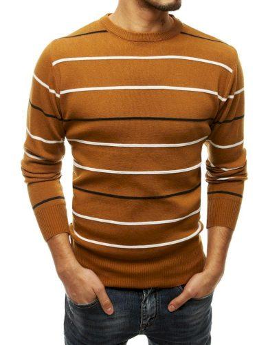 Pruhovaný pánský svetr s kulatým výstřihem a dlouhým rukávem
