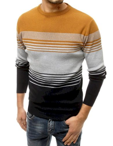 Pruhovaný svetr pánský vlněný pulovr s kulatým výstřihem
