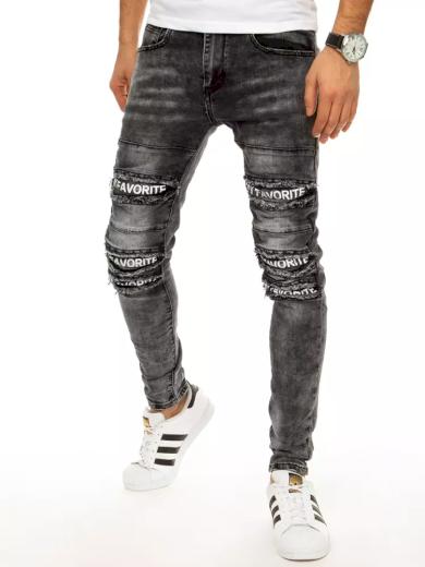 Děrované pánské džíny s nápisy