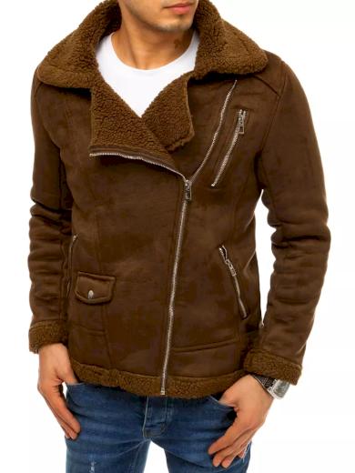 Pánská zimní semišová bunda Křivák s asymetrickým zipem