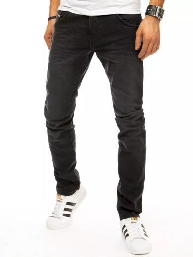 Pánské džíny černé riflové kalhoty s úzkými nohavicemi